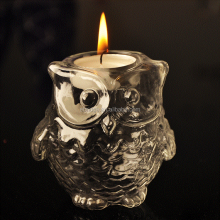 Cute Unique Owl Shape Glass Tealight Candle Lantern With Handle