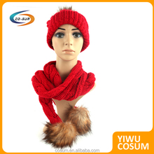 Fashion Winter polyester wool Knitted Hat Scarf Attached