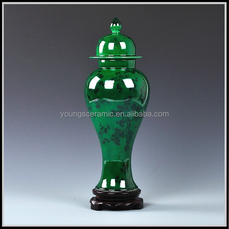 2015 Oriental Special Imperial Green Jade Ceramic Porcelain Decorative Vase For Wholesale And Retail