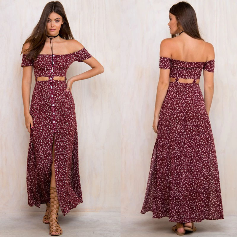 Off <strong>shoulder</strong> rose flower fancy dress Indian hippie fashion clothes