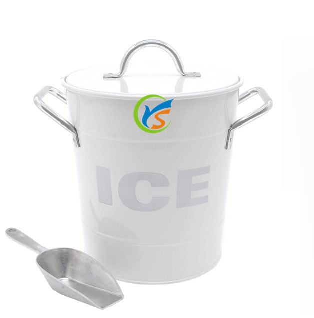White metal Ice bucket with lid and scoop