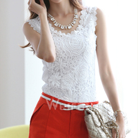 2016 Hot Sales V Neck Sleeveless Blouse White Lace Women Top