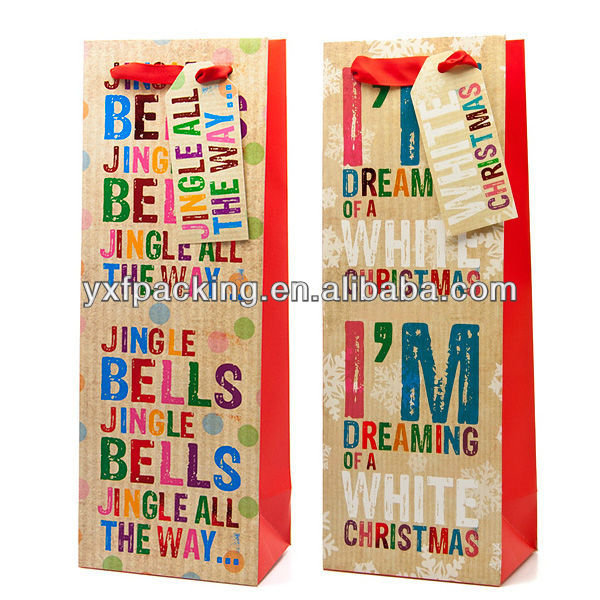 Jingle Bells or Dreaming of a White Christmas Bottle Gift Bag