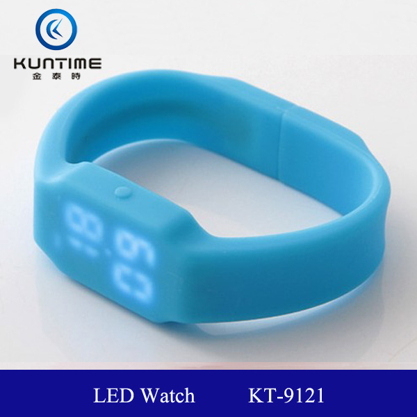 wholesale china watch colour silicone led watch KT-9121 white or red lights LED usb led watch usb flash drive