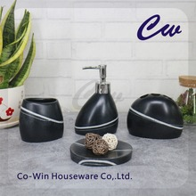 Polyresin Polystone Bathroom Set Accessory Bath Set 4 Pcs Tumbler,Toothbrush Holder,Soap Dispenser,Soap Dish
