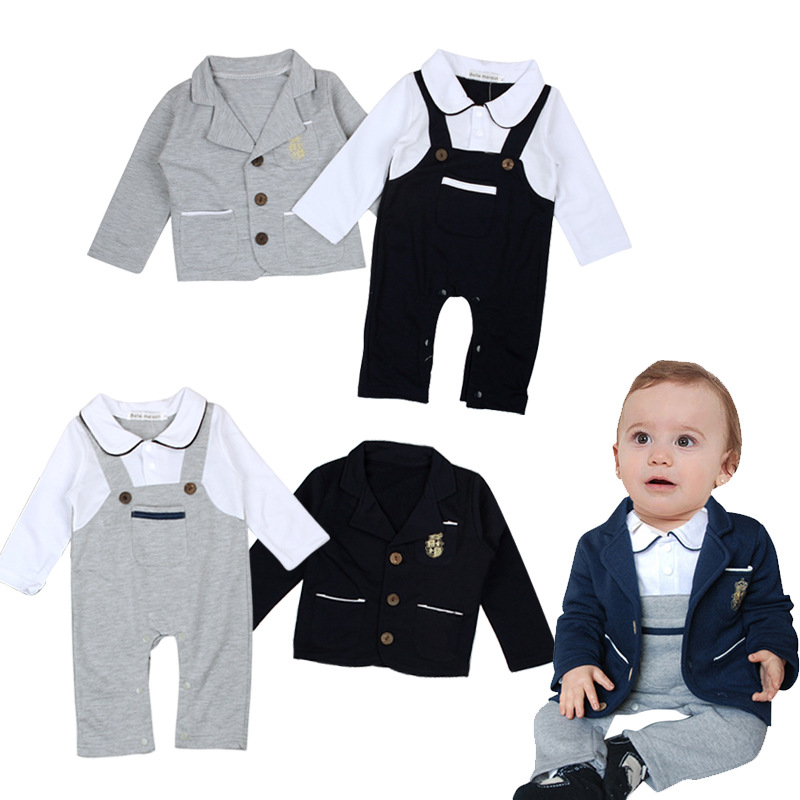 Handsome Gray Black Boys Clothing Suits Kids Party Wear Dresses