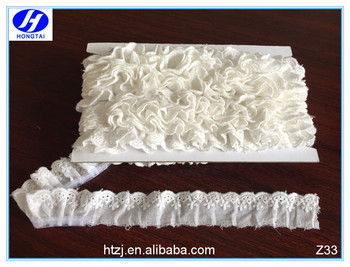2016 sewing lace cotton ruffle bridal lace trim from hongtai
