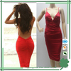 Trendy style red spaghetti strap sexy backless short wedding dresses for women
