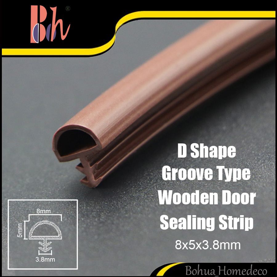 D 8x5x3.8mm PVC Door Sealing Strip TPE Silicone Rubber Wooden Window Frame Groove Caulk Repair Soundproof Weatherstrip