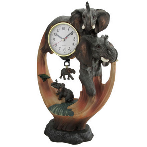chinese factory custom made handmade carved resin elephant clock