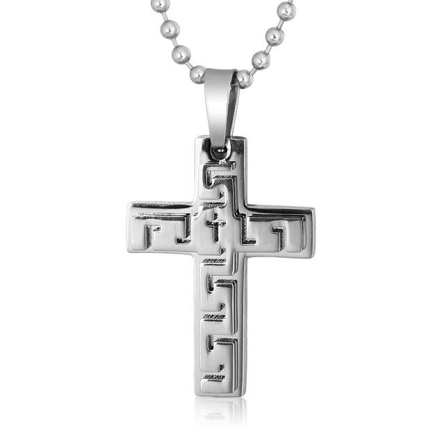 Best Selling Products Titanium Steel Necklaces Silver Cross Hip Hop Necklace