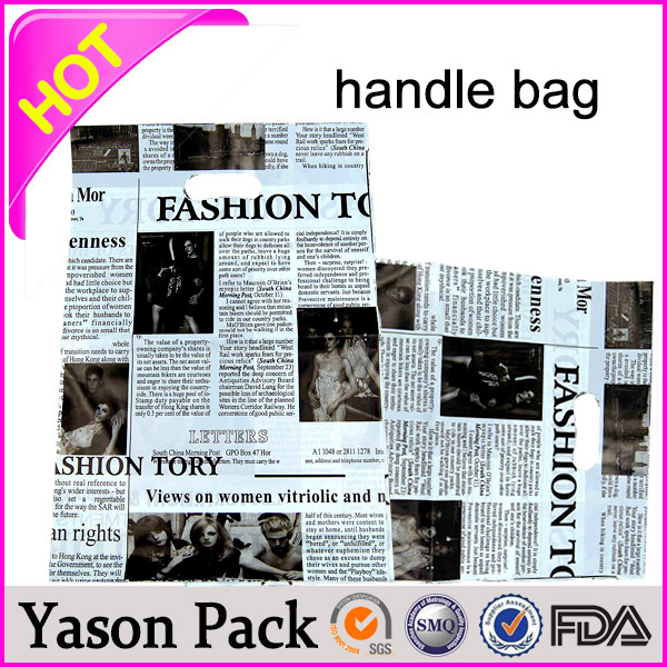 Yason solf-loop handle bag pvc tube handle carrier bag/promotional wine bottl ldpe die cut pathch handle bag