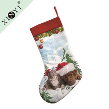 Wholesale 2016 new hanging animal lovely cat dog christmas stocking hot selling customized christmas decoration