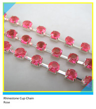 Rhinestone Cup Chain Trimming Ss16 4mm Hot Pink Crystal Silver Claw