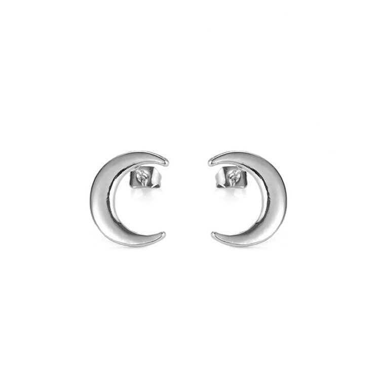 Fashion Jewelry 925 Sterling Silver Ear Pin Gold Plated Crescent Moon Stud Earrings