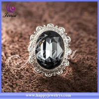 High quality top selling thai silver big grey crystal diamond ring for sale (XR171)
