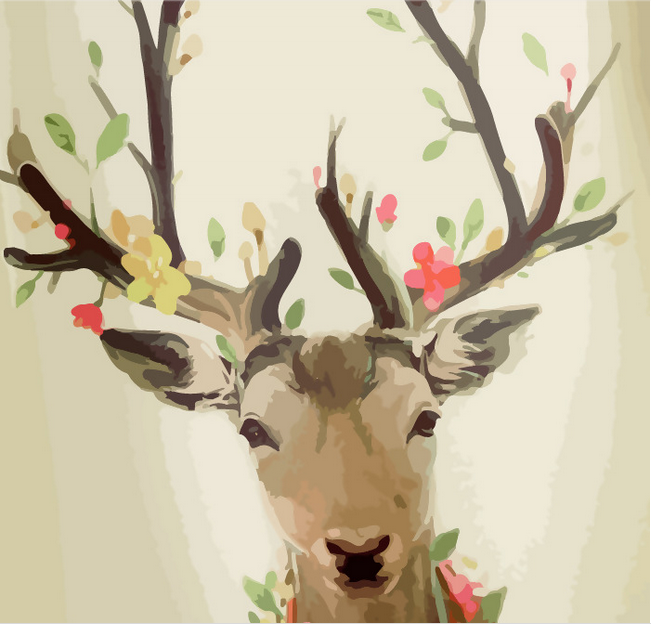 Pretty Elk digital printed fabric
