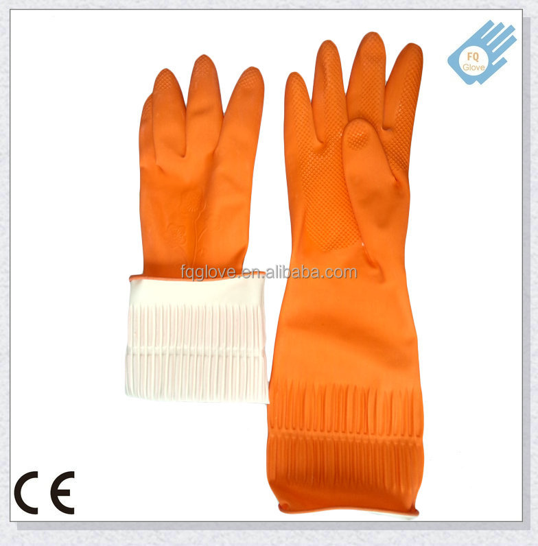 Waterproof Latex Household Glove with Long Cuff and Flower Design