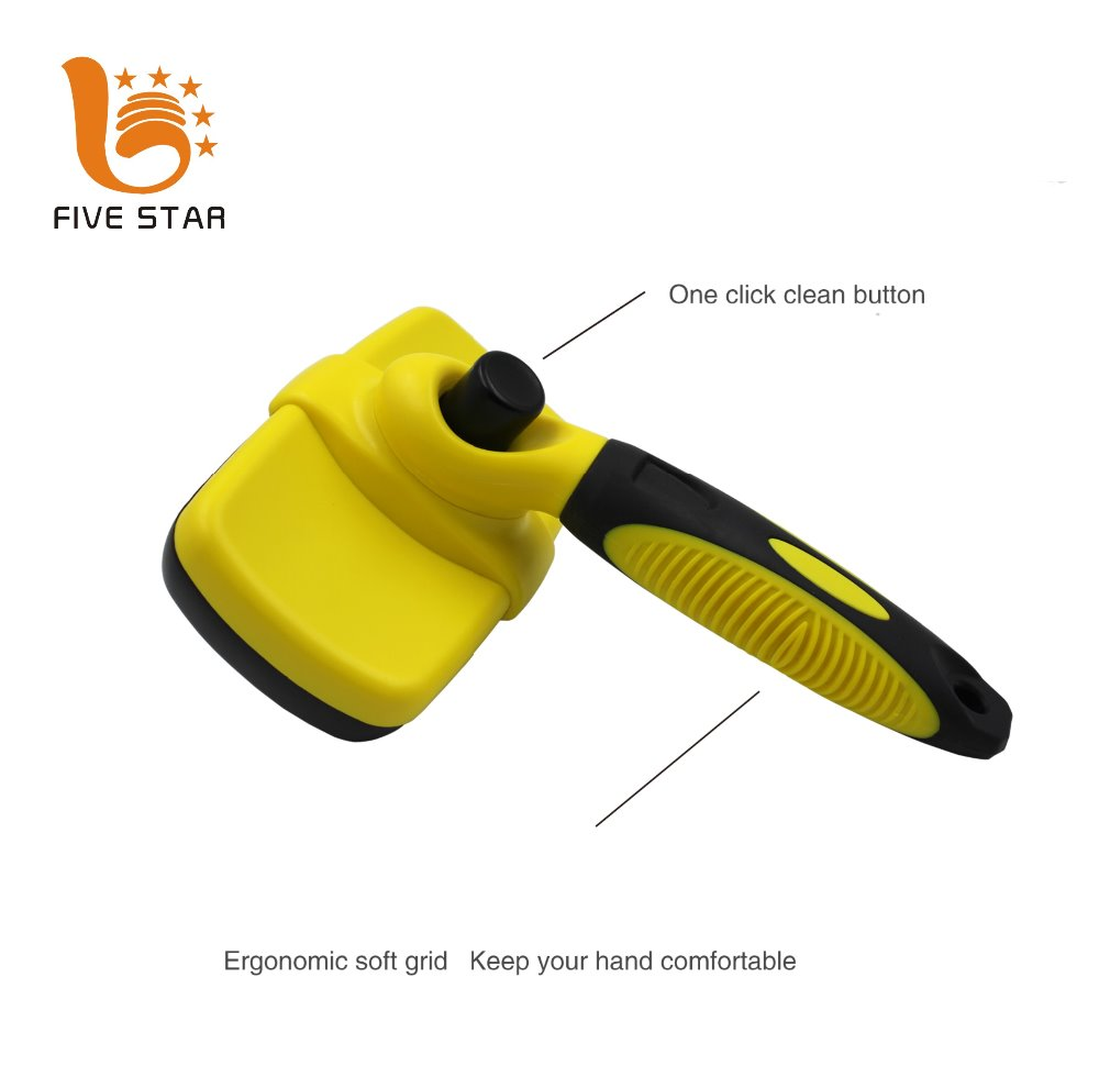 Five Star Professional Deshedding Tool Self Cleaning Slicker Pet Grooming Brush for Dogs and Cats