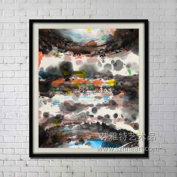 Handmade abstract landscape art for wall decoration