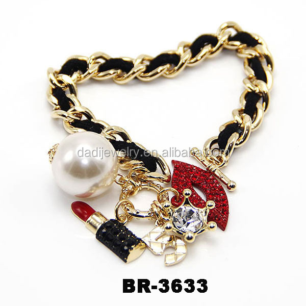 New Products Pearl Lipstick Crown Charm Bracelets Gold Chain Fashion Bracelet For Women