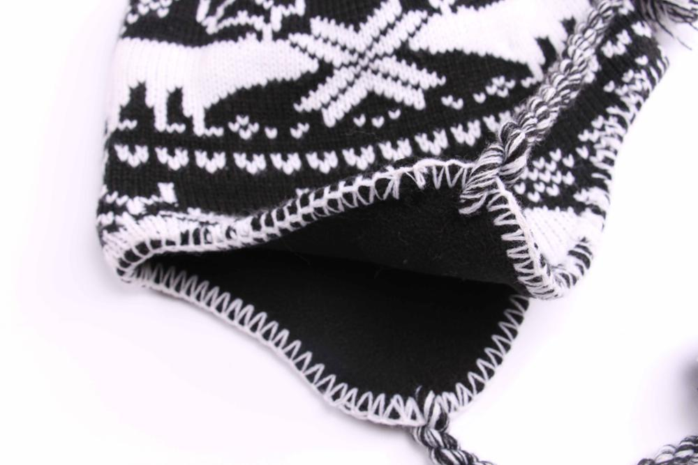 Newest popular colorful jacquard earflap knitted hats