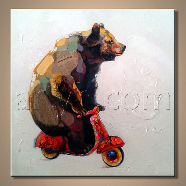Modern Handmade Smoling Dog Wear Black Glasses Animal Soldier Oil Painting With Helmet
