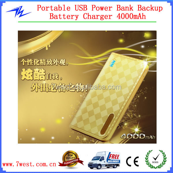 4000mAh Portable Mobile Power Bank,Manual for Power Bank Battery Charger-Golden