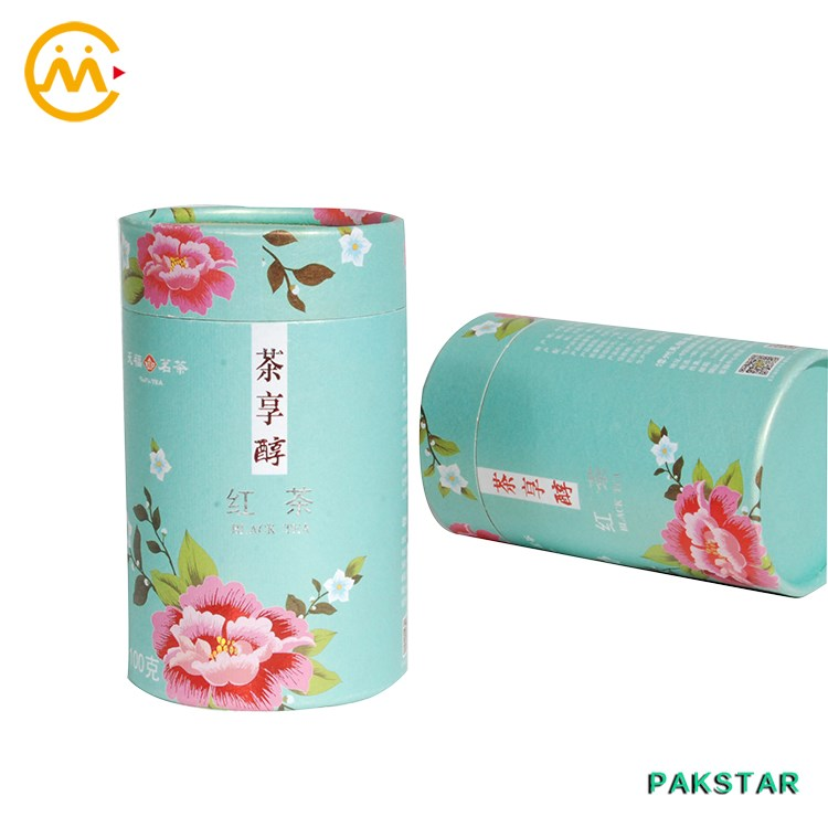 Vintage attractive decorative colorful printing cardboard tea packaging box cylinder