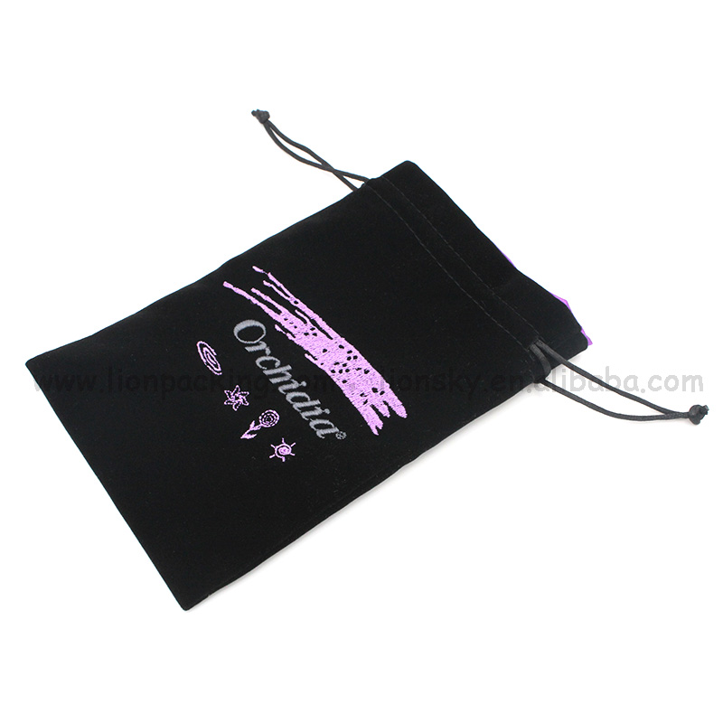 Fashion custom pen velvet drawstring pouch bag
