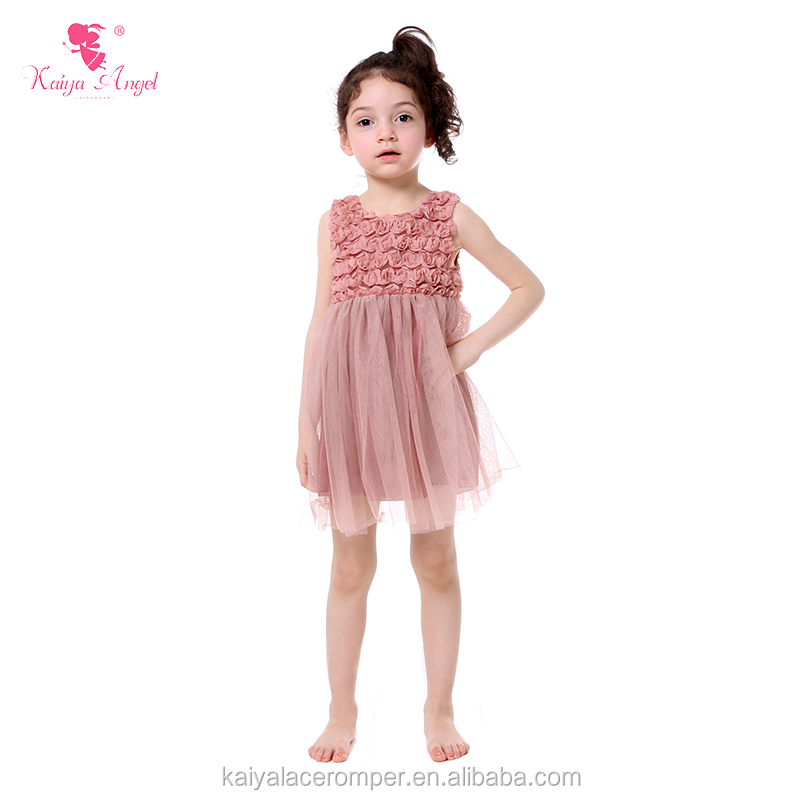 Pink floral summer transparent chiffon party wear western dress for 2-12 years old girls