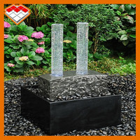 Black stone water feature back yard fountains