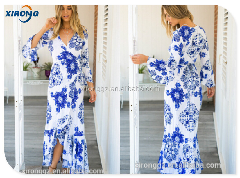 2015 Stunning Printed Maxi Dress Blue and White Print Wrap Design 3/4 Bell Sleeves Asymmetrical Hemline Unlined