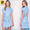 2015 Light Polka Dot Chambray Blouse Dress Latest Casual Dress Designs Button down Front & Wrapped Sash Tie Dress