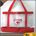 soft pvc zipper bag shopping, waterproof seaside transparent Custom printed shiny PVC coated cotton shopping bag PVC tote bag