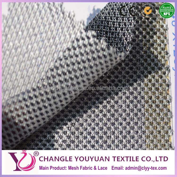 Twin color elliptical polyester mesh netting lining fabric for handbag