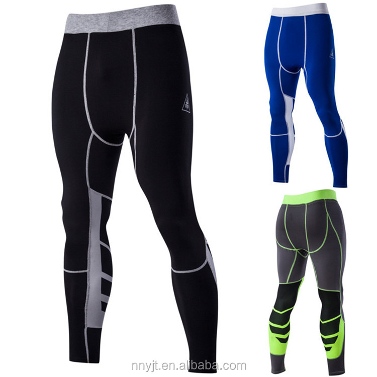 Strong Men Cycling Jersey Pants Patchwork Contrast Color Legging