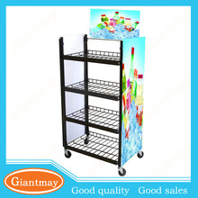 4 tier hanging wire basket metal display stand for promotion