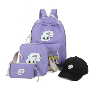China suppliers new design latest fashion cartoon 4pcs canvas backpack school bags set with hat