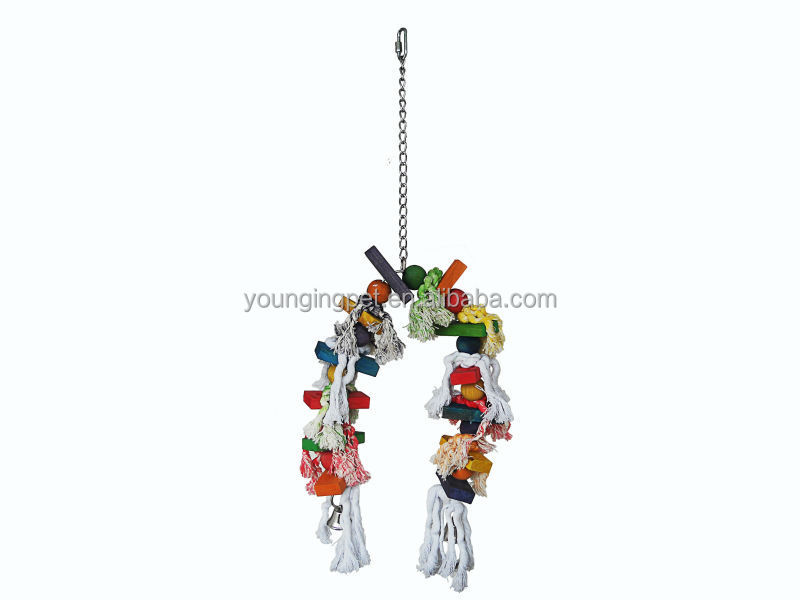 Cotton metal rope wooden bird toy