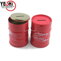 Customized round Oil drum shape tin box packing
