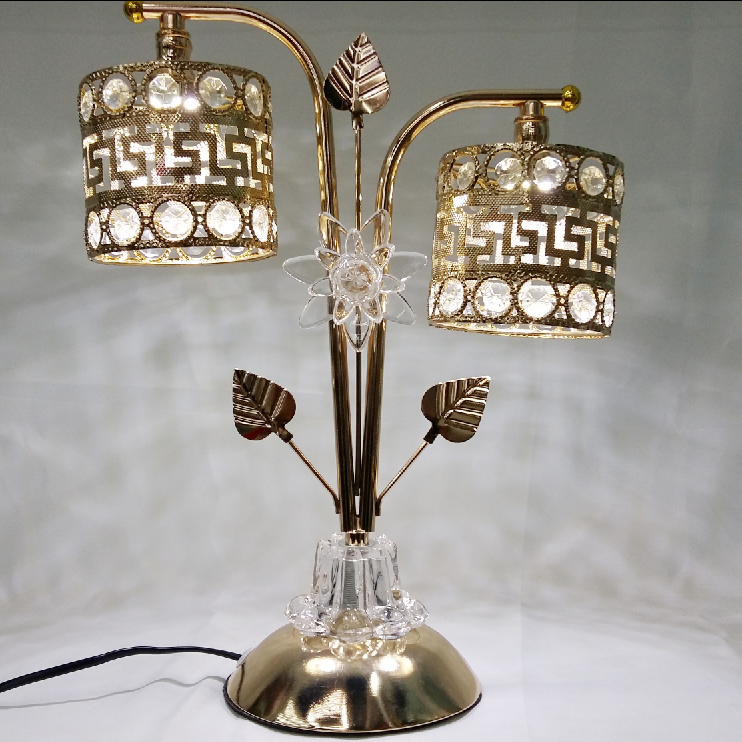 Free sample Gold plated double head light table lamp crystal cheap led desk lamp
