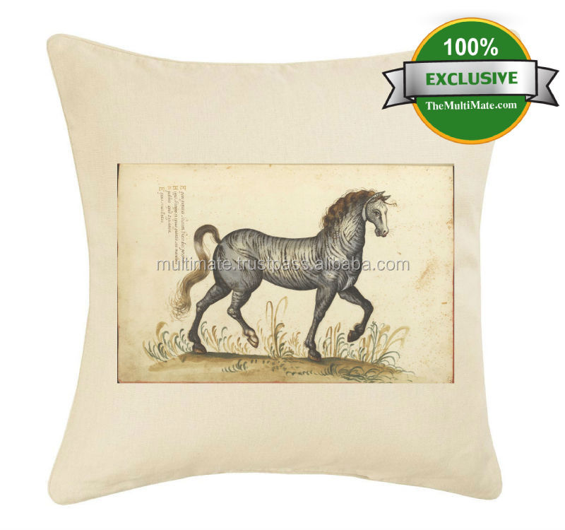 animal printed horse printed custom digital printing vintage feel cushion covers