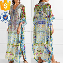 New Fashion Embellished Silk Printed Kaftan Bohemian Dress OEM/ODM Women Apparel Clothing Garment Wholesaler Ropa Mujer