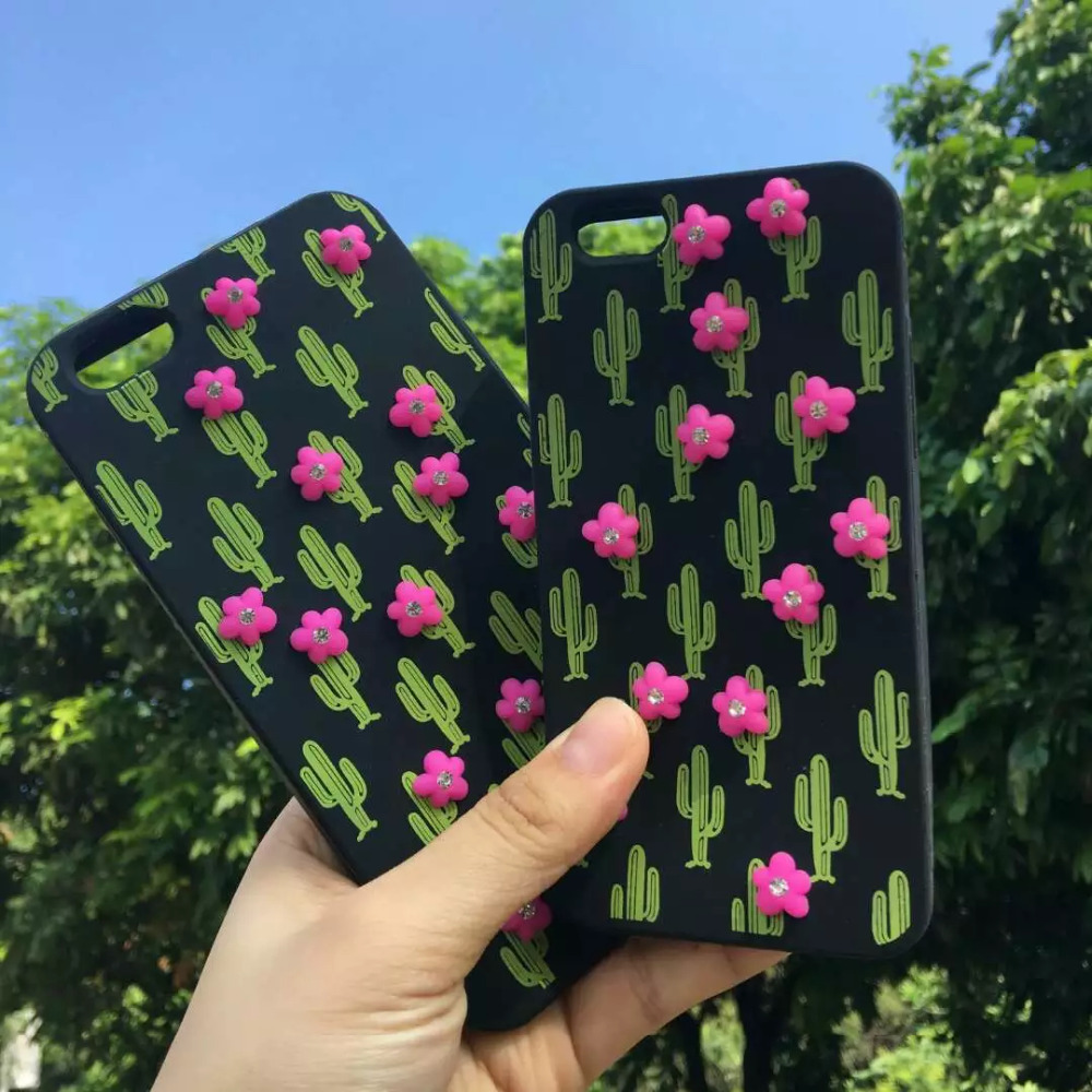 3D Cactus Rubber Silicone Phone Case For iPhone 7 Case Mobile Phone