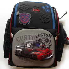 Hot Cartoon 3D Truck Backpack Primary Scholar School bag for Boys