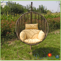 Hotsale PE Plastic Rattan Patio Garden Furniture Double Hanging Wicker Chair Swing
