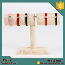 New arrival ! Linen T bar bracelet jewelry display rack factory in china burlap Jute
