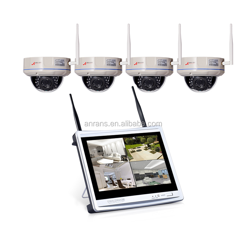Anran Hot Sale P2P Dome 1080P Wireless Cameras 4 channel WiFi NVR Kit With HD LCD Screen