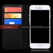 For Iphone 7 4.7 Inch Cowhide Genuine Leather Protective Case With Wallet Card Slots Function